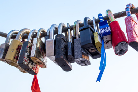 padlocks: Padlocks are a symbol of love locked on a bridge Stock Photo