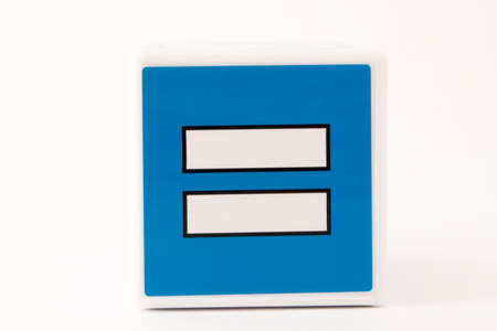sign equals: A blue and white simple equals math sign on an isolated background