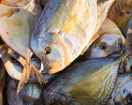fish type: Dry cured fish fit for human consumption at a local market Stock Photo