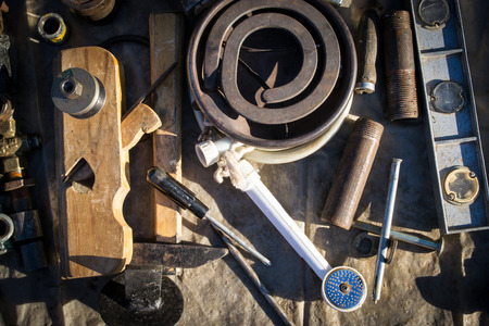 junk: A collection of old unassorted junk including tools and utensils