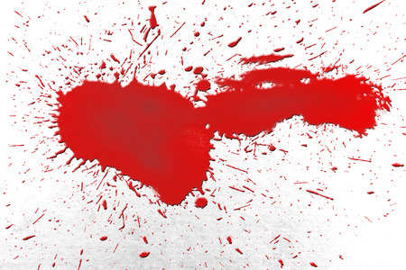 spattered: A single blood splat effect on a white background