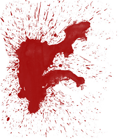 splat: A large red blood splat on white background