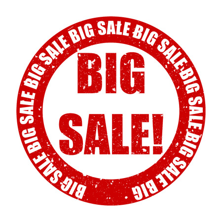 Aged rubber stamp text saying the text Big Sale photo