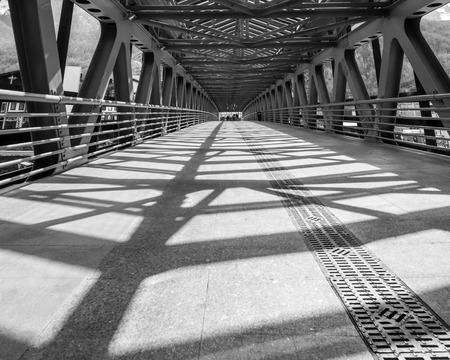 girders: Metal girders create big contrast shadows in in black and white
