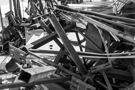Scrap metal girders and metalawaits collection for recycling