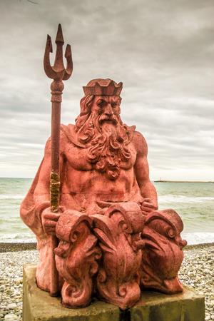 Classic Neptune statue  on the coastline of Sochi