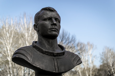 astronautics: Famous cosmonaut Gargarin bronze head statue