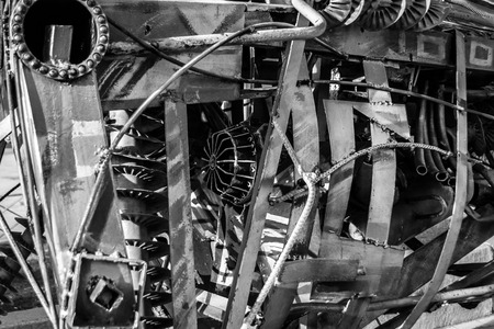 Welded: Assorted junk metal welded together and painted in monochrome Stock Photo