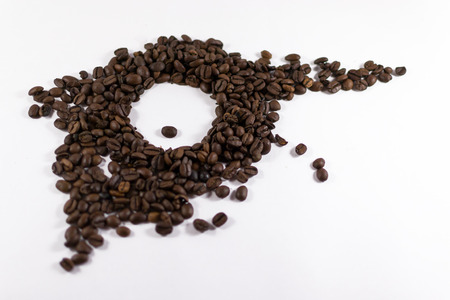 room for text: Coffee bean eye on a white background with copy space and room for text Stock Photo