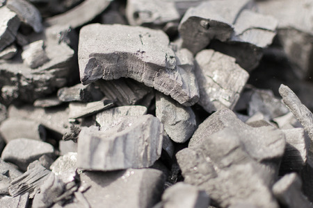 unlit: Unlit charcoal blocks ready for igniting for food preparation