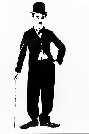 Simple silhouette of the film actor Charlie Chaplin Standard-Bild