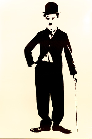 silent film: Simple silhouette of the film actor Charlie Chaplin Stock Photo