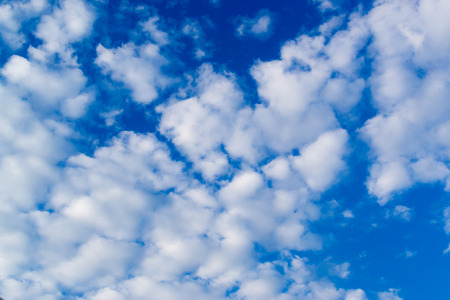skyscapes: Bright white clouds and a crisp blue summer sky Stock Photo