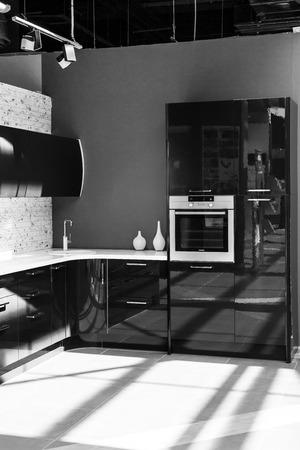 units: Modern urban kitchen units in black and white