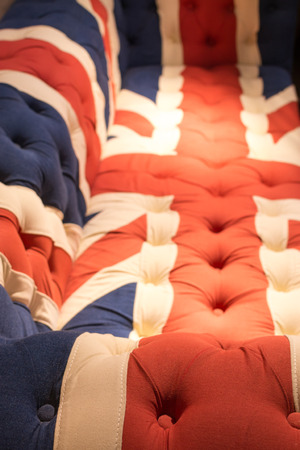 confortable: Union Jack Flag style modern cushioned sofa Stock Photo