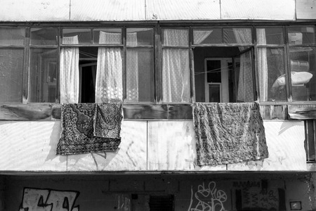 housing style: Old style Russian soviet style housing block in Ufa Russia with interior carpets