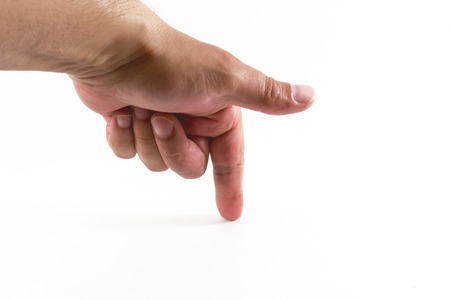 downwards: White male index finger pointing downwards onto a white background