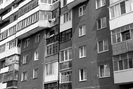 housing style: Old style Russian soviet style housing block in Ufa Russia