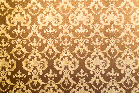swirl pattern: French style floral wallpaper in gilded gold and brown