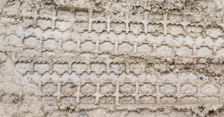 summer tire: Set of car tire tracks in fresh summer mud