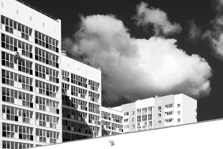 unsaturated: Newly designed and built modern housing blocks in unsaturated black and white