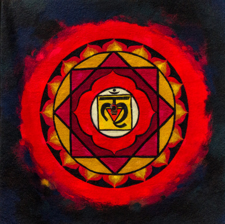 Bright red and black indian ohm image on material Stok Fotoğraf