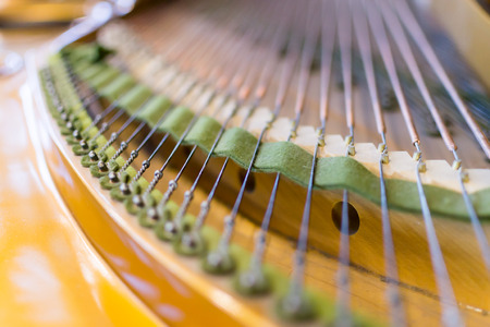 classical mechanics: Detailed image of the strings of a classical Grand Piano in close-up