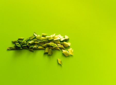 Finely chopped spring onions on a green plastic background