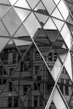 triangle shaped: Triangle shaped abstract from window reflections of a modern office building Editorial