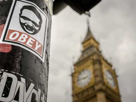to obey: Famous London Tourist attraction Big Ben and Obey sticker