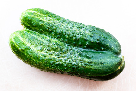 conjoin: Pair of green conjoined cucumbers form part of a mutated harvest on a white background