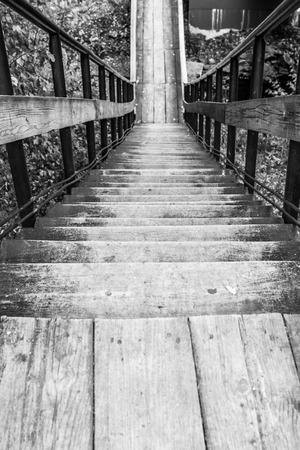 downwards: Black and white monochrome wooden steps leading downwards