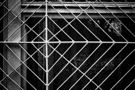 window grill: Window security frame constructed from metal resembles a spider web in composition. The darkness behind the grill holds dark secretes of the spider family. The netting is the dust and passing of time characterized in many films. And still the spider waits