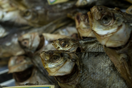 traditionally russian: Dried saltedfish on display in a local Russian Beer shop. The fish is a snack when drinking and is traditionally bought together with Beer.