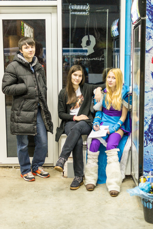 gamers: UFA, RUSSIA - NOVEMBER 13, 2015: Young Russian teenagers relax by cosplay in a local Internet bar that specializes in online gaming and LAN parties in Ufa, Russia during November of 2015