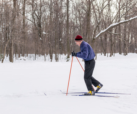 oap: UFA - RUSSIA 22ND FEBRUARY 2016 - An old man exercises to improve his health by cross country skiing in a public park in Ufa, Russia during the winter of February 2016.