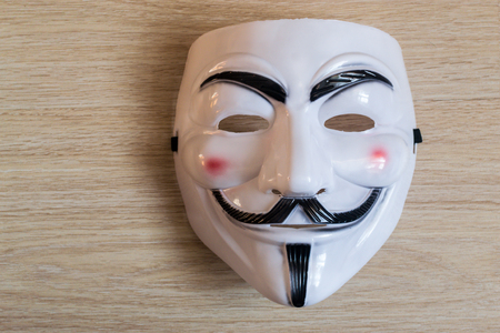 guy fawkes mask: UFA - RUSSIA 22ND FEBRUARY 2016 - The Guy Fawkes mask seen in the film V for Vendetta is seen as a symbol of civil disobedience and worn in riots and protests against governments around the world.