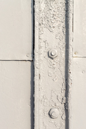 aircraft rivets: Close up architectural image of grey painted bolts used for securing light metal plates and structures. Vertical composition with a good clean copy space area for design text.