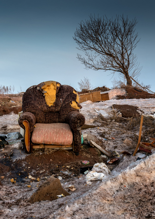 detritus: Single abandoned armchair in a deteriorating state surrounded by detritus as a tree leans over in the background. Colour image.