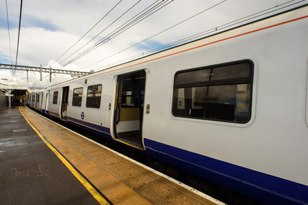 operates: SHENFIELD - ENGLAND 26TH APRIL 2016 - TFL-Rail train operates a service from Shenfield to Southend for commuters traveling to London in April 2016