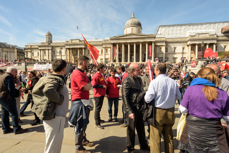 addressing: LONDON - ENGLAND 1ST MAY 2016 - Workers and trade unions activists at the London May Day rally in Trafalgar Square London May 1st 2016 - International Workers Rally