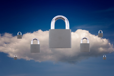 cloud based: White cloud and seven closed padlocks for technology and computing based security concepts and ideas. Copy space area for data secure themes.