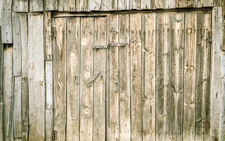 tatty: Green paint stained grunge style wooden door with wood grains and textures on the aged decrepit surface. Copy space area for text overlays. Stock Photo