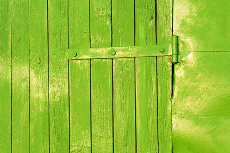 sickly: Old bright green paitned door hinge on faded aged wood Stock Photo