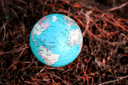 Blue and green globe of planet earth with a dry scorched dehydrated grass background. Copy space area for conservation and climate protection ideas and designs Stock Photo