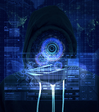 Reality augmentation of a unknown computer criminal using a bright blue HUD display for internet hacking and illegal activity