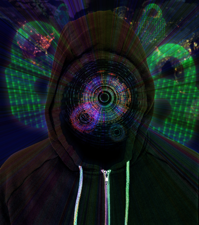 Computer hacker wearing a hooded black top with an augmentation HUD Display with padlocks and binary code in the background
