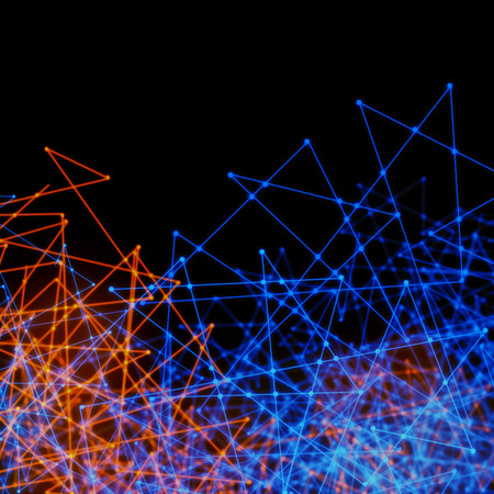 Plexus style effect tech background of futuristic mesh of wires and triangles Stock Photo
