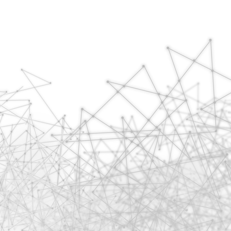Plexus style effect tech mesh background of futuristic wires and triangles in a white network pattern