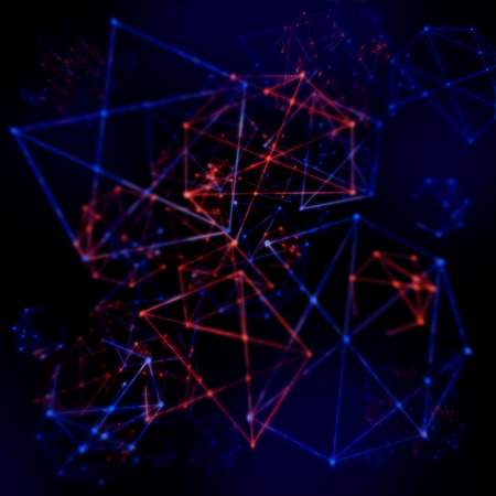 Plexus style effect tech mesh background of futuristic wires and triangles in a network pattern Stock Photo